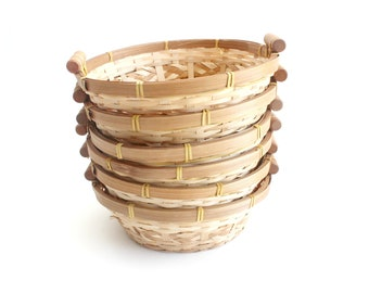 Woven Bamboo Baskets, Set of 6 - Round Fruit Baskets, Bread Baskets