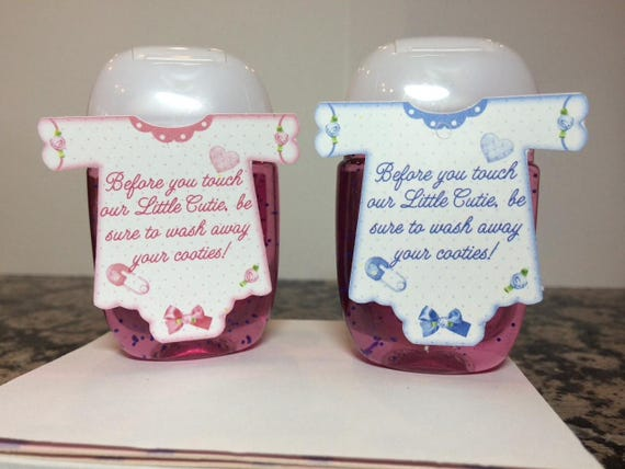 Hand Sanitizer Tags Baby Shower Favor Tags Onesie Shaped