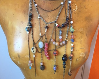 Multi Stone Necklace- Unique Gemstone Jewelry- Extravagant Jewelry- Handcrafted Artisan Jewelry- Awesome Gifts- Multi Strand Necklace