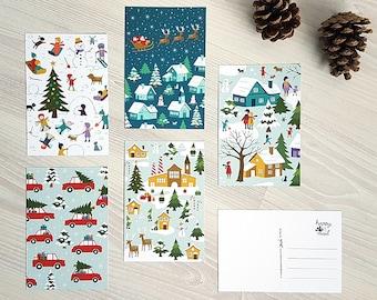 Christmas village postcards / kerstkaarten / ansichtkaarten - set of 5 - design by Heleen van den Thillart