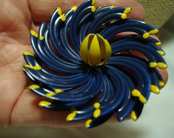 1960s Navy Blue with Yellow Accents Metal Flower Pin.