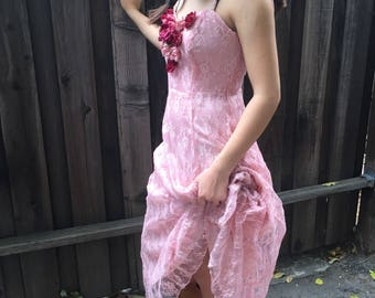 1980s Pretty in Pink Dress, Prom, Small