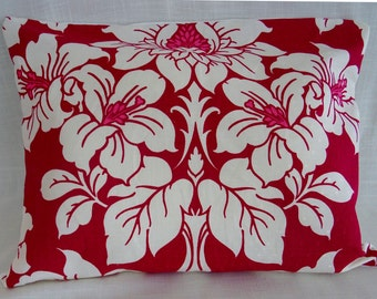 Raspberry red white Floral Cushion cover/ handmade  'Anya' fabric Cushion cover/ 16x16''/ 18x18''/ 20x20''/ 16x20'' / Square/ Oblong cover