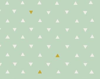 AGF PREMIUM COTTON Fabric Art Gallery Fabrics Triangle Tokens Metallic Fabric 100% Premium Cotton Quilting Fabric Mint Gold Metallic Fabric