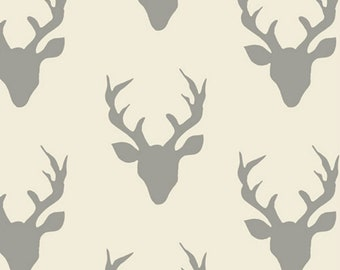 Deer Cotton Fabric - Gray and Cream Hello Bear Buck Forest Silver by Art Gallery Fabrics