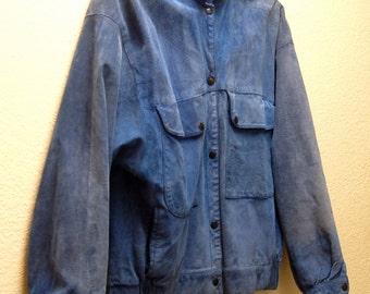 Vintage Faded Blue Suede Jacket 1970's