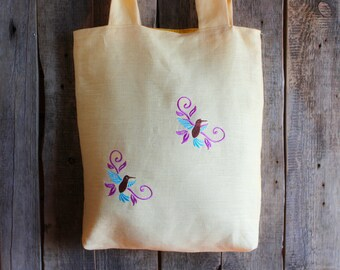 Linen Tote Bag, Light Yellow, Embroidered Bag, Natural linen, Large size, Grocery Reusable Bag, Eco-friendly, Natural Beach Tote Bag