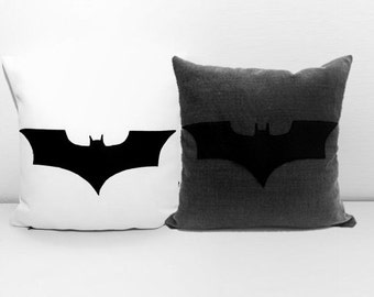Batman pillow covers, grey and white pillows,  personalized pillows, nerd pillow, custom pillows