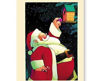 Santa Christmas Card - Everyone Deserves a Gift - 18 Cards & Envelopes - KX366