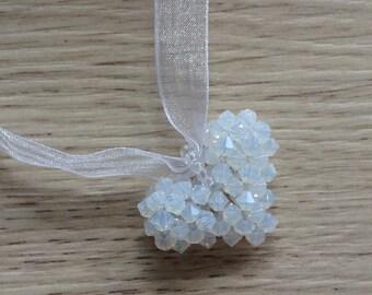 Heart pendant necklace Swarovski Pearl, White Ribbon