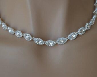 Rhinestone Jewelry Set, Crystal Wedding Necklace Set, bridal jewelry set, wedding jewelry set, bridesmaid jewelry set.