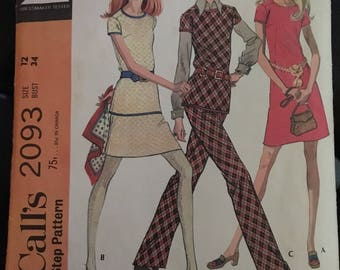 McCall's 2093 Misses Junior Dress Top Skirt and Pants Size 12 34 Bust Retro Outfit