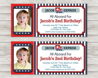 Train Ticket Birthday Invitation, Train Birthday Invitation - Digital File