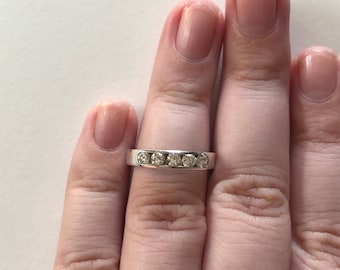 Vintage 5-Stone Paved Cubic Zirconia 925 Sterling Silver Band Ring