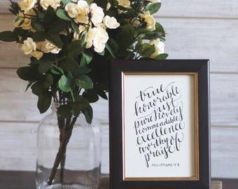 Philippians 4:8   Handwritten Calligraphy