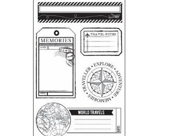 """Clear stamp KAISERCRAFT coolection """"Now Boarding"""", acrylic stamp scrapbooking stamp"""