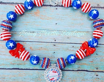 4th of July necklace, 4th of July jewelry, 4th of July accessories, Red white and blue necklace, Red white and blue outfit, 4th July outfit