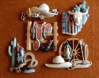 5 Western Themed Cowboy or Cowgirl Wall Plaques, 1995 Home Interiors no. 3344, Burwood Products Company