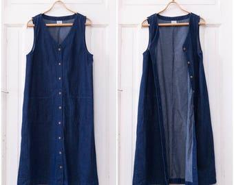 90s Denim Maxi Dress Navy Button Down Maxi Dress Medium Jean Dress Oversize Denim Dress Dark Blue Sleeveless Long Dress Button Up Dress M