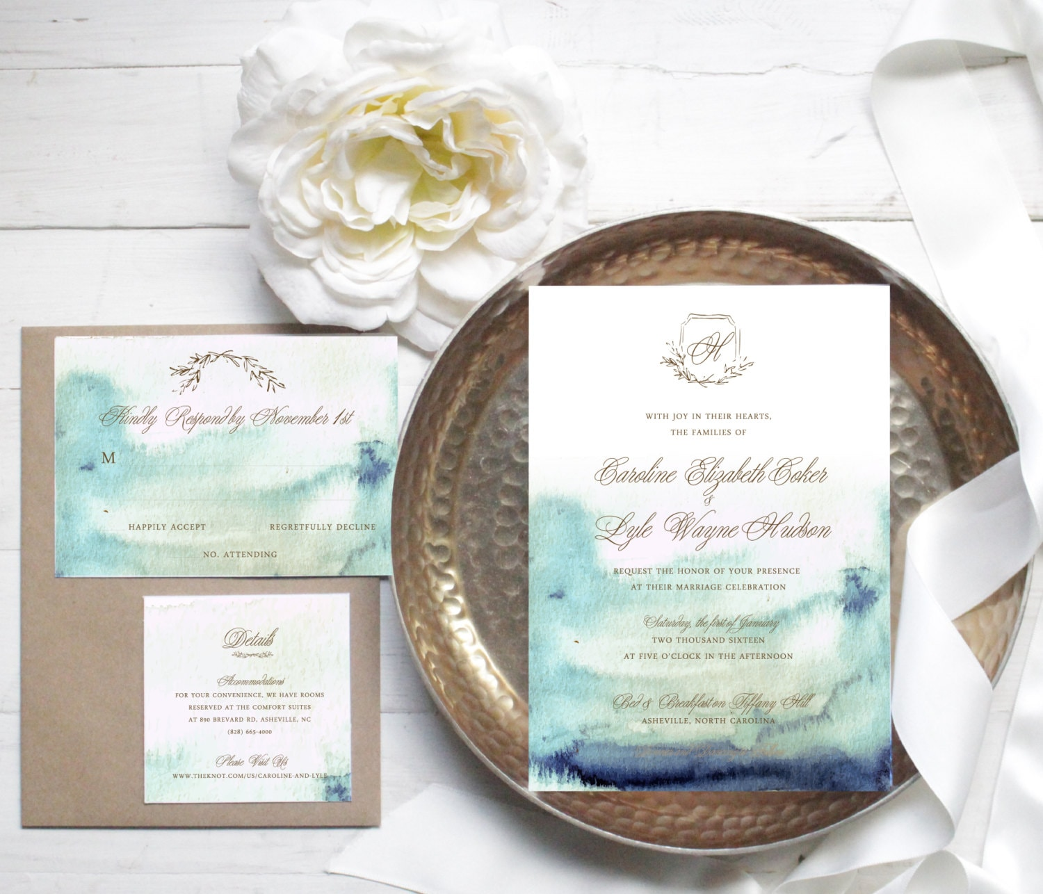 Elegant Blue Watercolor Wedding Invitation // Available in