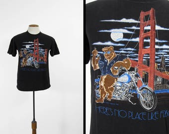 Vintage 80s Harley Davidson T-shirt San Francisco Bear Holoubek - Medium