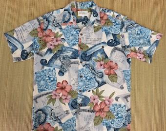 Hawaiian Shirt Men TORI RICHARD Sandwich Islands French Explorer Map Shirt Aloha Cruise Shirt Vintage Camp - M - Oahu Lew's Shirt Shack