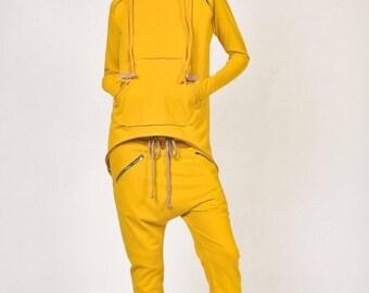 SALE NEW Loose Casual Yellow  Drop Crotch Harem Pants / Extravagant Burgundy Pants /Side zipper pockets / Unique Pants  by AAKASHA A05313
