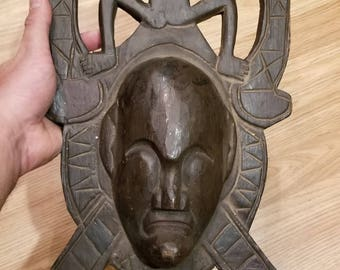 """Hand-Carved Wood Mask from Bali, Indonesia! Wall Art decor! Wood Carving 15"""" (C3)"""