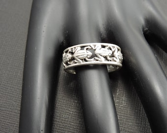 Vintage FROG STERLING Silver Band  Ring Very Cool Size 10.5