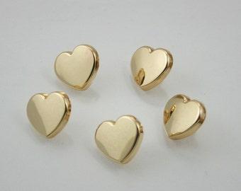 Heart Rivet Studs Gold Tone Decorative Rivets 13 mm. 5 sets.