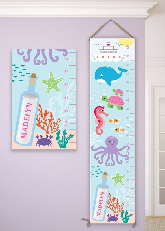 Under the Sea Growth Chart, Under the Sea Nursery, Under The Sea Art, Under The Sea Decals, Under the Sea Birthday - GC4002A