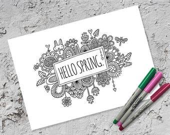 Hello Spring Colouring Page | Instant Digital Download | Original Doodle Design
