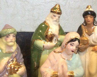 Vintage Nativity Set Exquisite Colors and Gold details Manger