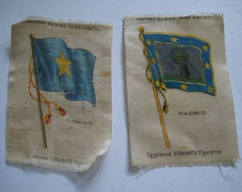 2 CIGARETTE PACK PREMIUMS. These are 3 inch tall by 2 inch wide silk(?) pieces. flags shown on them. See photos and description area.