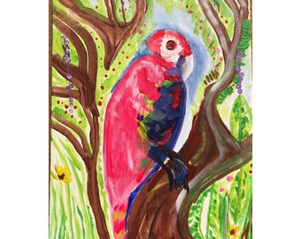 "Lori the Parrot-acrylic painting-mixed media,14 x 18""-added watch parts-vibrant colors,nature,forest,garden,dynamic painting-birds"