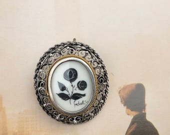 Vintage Hand Painted .800 Silver Brooch Pendant