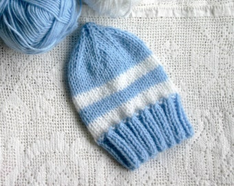 Newborn Baby Hat- Baby Blue-Hand Knitted Baby Beanie- White Stripes, Adjustable Length