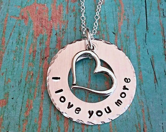 Valentine's Day - I Love You - I Love you More - Love Necklace - Love - Anniversary - Gift for Wife - Gift for Girlfriend - Heart Necklace