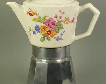 antique espresso machine with ceramique pot