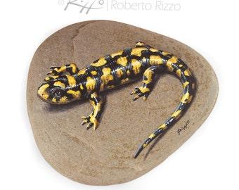 Main unique peint salamandre tigrée reposant sur un rocher | Tirage d'Art par Roberto Rizzo
