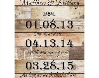 Personalized Wedding Plaque, Anniversary Wall Hanging, Special Dates, Great Wedding or Anniversary Gift, Custom Wedding Plaque