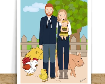 Couple Portrait with Pets, Custom Couple Drawing, First Anniversary Gift For Her, Home Decoration
