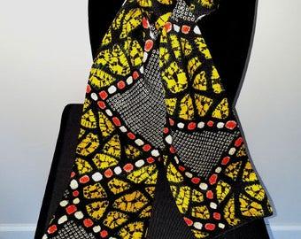 Kimono Scarf S7894- black with gold shibori