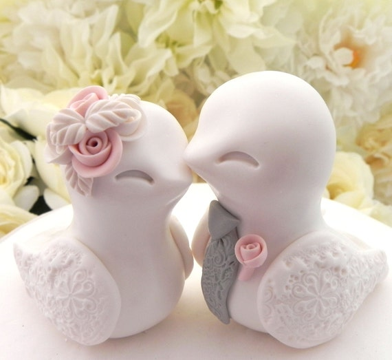 Love Birds Wedding Cake Topper, White, Dusty Pink, and Grey, Bride and Groom Keepsake, Fully Customizable
