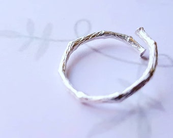 Genuine Sterling Silver branch twig ring - adjustable wrap ring -  branch ring - wrap ring - Twig  sterling silver ring - gift of her - UK