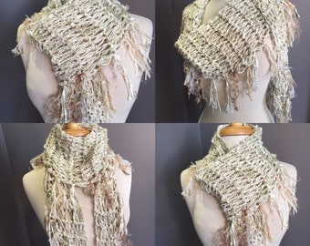 Handmade knit gold pastel scarf, Tribal Romance, Cream and Sugar,  Versatile Diamond-shape Scarf, ribbon knit scarf, tribal, bohemian wrap