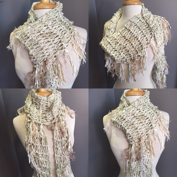 Handmade knit ivory gold  scarf, Tribal Romance, Cream and Sugar,  Versatile Diamond-shape Scarf, ribbon knit scarf, tribal, bohemian wrap