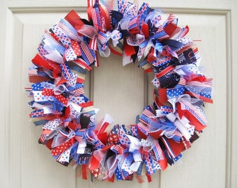 Americana Wreath, Patriotic Wreaths, Patriotic Decor, Military Decor, Red White Blue Wreath, Independence Day Wreath, 4th of July Decor