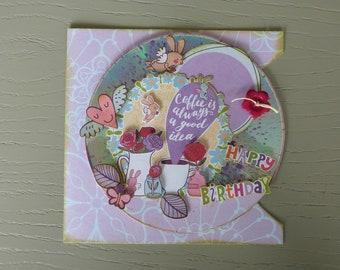 "Birthday card boy made hand on CD ""my jars floral"""