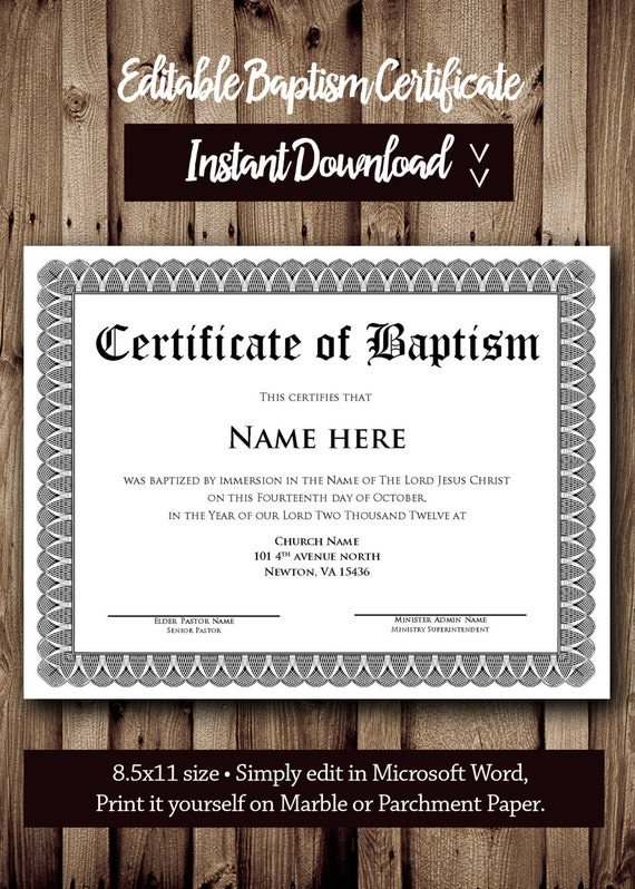 Baptism Certificate Template Microsoft Word Editable